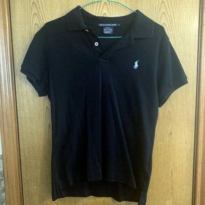 Ralph Lauren Polo shirt, black, slim fit, large